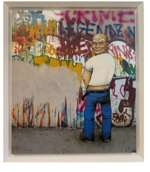 """Dran, """"Mr Propre"""" (2011), peinture aérosol et brush (acétone) sur toile"""